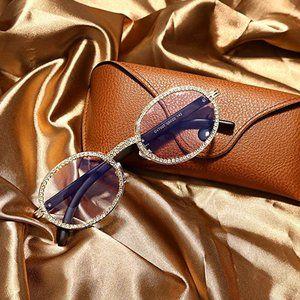 Wood Buff Gold Glasses w/Crystal Bezel